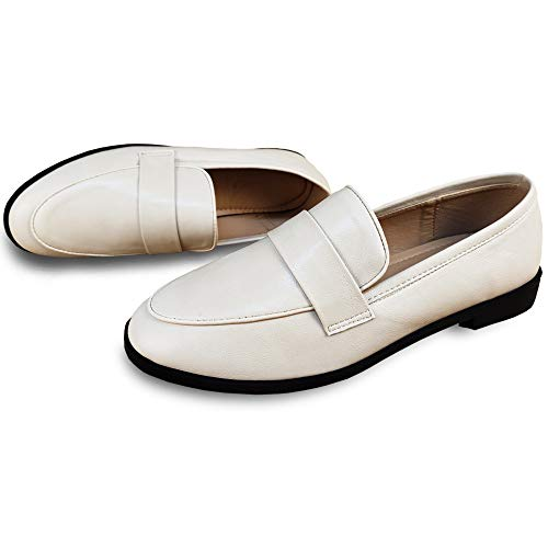 KEESKY Slip on Loafers for Women Leather Working Shoes Size 9 Beige White
