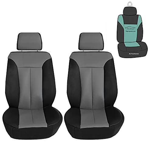 FH Group Apex90 Water-Resistant Faux Leather Car Seat Covers, Front Set for Cars, Coupes and Small SUVs (Gray/Black)
