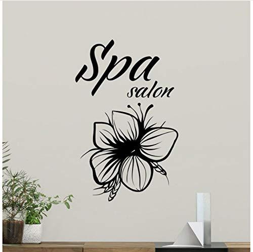 Wiwhy Spa Salon Sticker Vinyle Beauté Fleur Autocollant Mural Spa Salon Décoration Massage Boutique Vinyle Autocollant Mur Art Décor Mural 57X90Cm