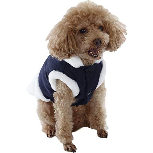 WFZ17 Hundeweste, Baumwolle, gepolstert, hoher Kragen, Stoff, Patch, für Herbst und Winter, Marineblau, Größe S
