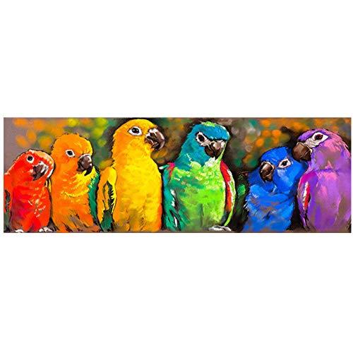 LLXHG aquarel papegaai schilderij aan de muur moderne dieren popart canvasdruk bonte papegaai muurschildering voor Levendige Romeinse decor-50X150 cm niet-ingelijst