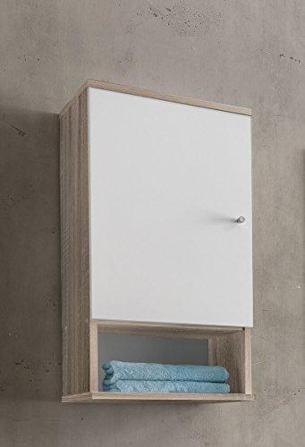 WILMES Badmöbel, Badezimmerhängeschrank, Hängeschrank, Sonoma Eiche/Weiß Melamin Dekor, 32x35x70.5 cm