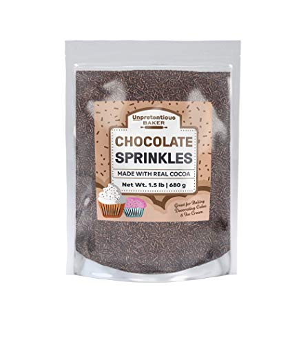 Chocolate Sprinkles, Made with real cocoa, Decorative Dessert Topping, Made in the USA (1.5 Lb)