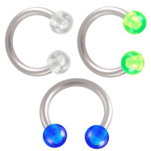 3er Set 1,2mm 8mm circular barbell Hufeisen Lippen Stahl knorpel Piercing Ohr Tragus Augenbraue Body Jewelry BOTP