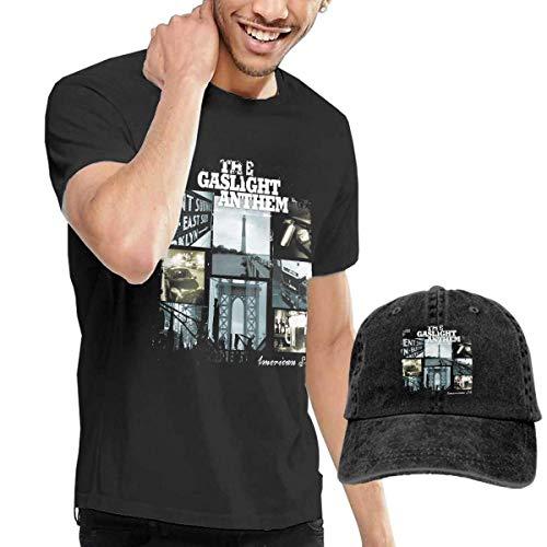Thimd Camiseta de Manga Corta para Hombre,Gorra de béisbol Combinación Negro The Gaslight Anthem American Slang T-Shirts and Washed Denim Baseball Dad Caps Black