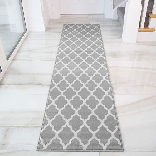 The Rug House Milan Tappeto Morbido Grigio Marrone Talpa Stampa Classica Intreccio Grigio Geometrico 60 cm x 240cm