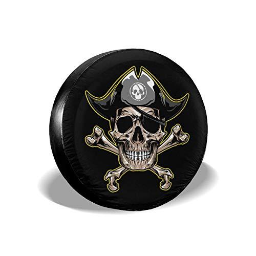 Hokdny Cubierta DE LA Rueda Emblema de Pirates Skull and Bones Romantic Wheel Cover with PVC Leather Waterproof Dust-Proof Fit