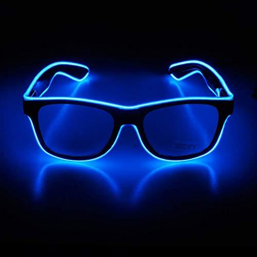 KingCorey Leuchten Sie EL Wire Neon Rave Brille Glow Flashing LED Sonnenbrille Kostüme für Party, EDM, Halloween (Blau)