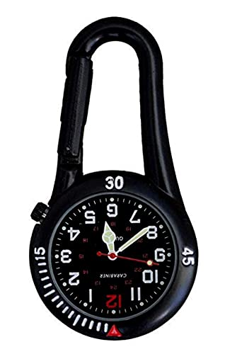 Carabiner Marke schwarz Clip auf Karabiner schwarz Gesicht FOB Uhr für Ärzte Krankenschwestern Rettungssanitäter Chefs leuchtende Hände