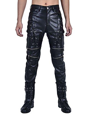Idopy Männer `s Biker Style schwarz Kunstleder Hose vorne Lace UP Hosen, Schwarz, W36 90cm(35.4inch)
