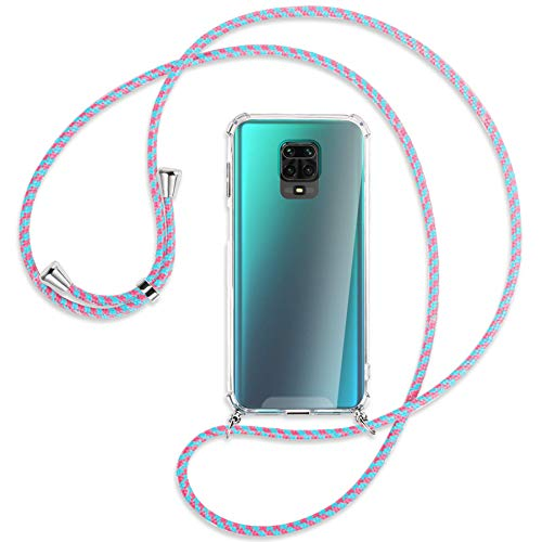 mtb more energy Collana Smartphone per Xiaomi Redmi Note 9s, Note 9 PRO (6.67'') - Rosa + Menta - Custodia indossabile per Collo - Cover a Tracolla con cordina