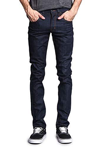 Victorious Herren Skinny Slim Fit Stretch Raw Denim Jeans -  Blau -  30W / 34L