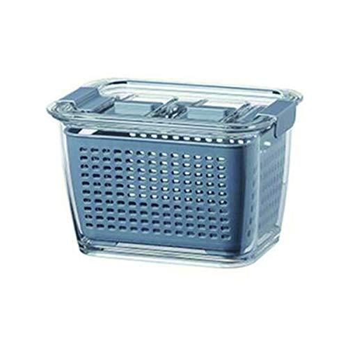 Caja De Almacenamiento De Plástico Para Cocina Caja De Conservación Fresca Refrigerador Fruta Vegetal Drenaje Crisper Cocina Contenedor De Alimentos Caja De Almacenamiento (gris, 4.5L)