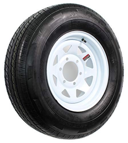 Radial Trailer Tire On Rim ST225/75R15 225/75-15 15 D 6 Lug Wheel White Spoke