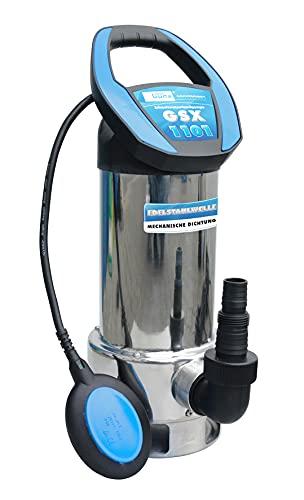 Güde 94604 Schmutzwassertauchpumpe GSX 1101 (mit variabel einstellbarem Schwimmerschalter, Edelstahlmantel, Fördervolumen 19000 l/h)