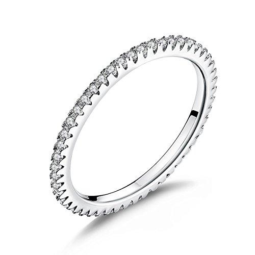 gioielli Donna Anelli di Fidanzamento in argento Eternity da 1,5 mm di banda sottile con zirconia cubica regalo di Natale