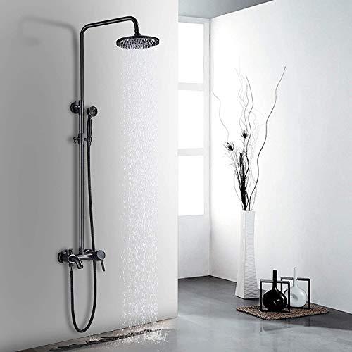 Mnmc Duschsystem Regendusche Mischbatterie Duscharmatur mit 3-Funktion Duschsäule Kopfbrause, Handbrause und Brause Wasserhahn Verstellbarer Duschstange Duschset Schwarz
