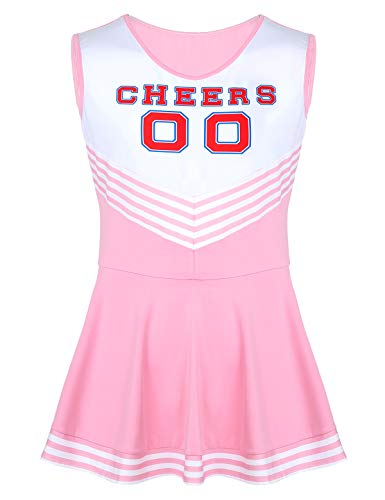 dPois Men Sissy Sleeveless Pleated Mini Dress High School Cheer Leader Uniform Cosplay Outfits Pink XX-Large