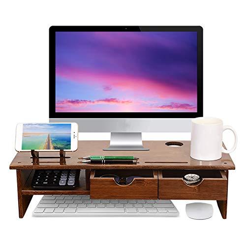 Soporte para Monitor con Cajones, Monitor Elevador Mesa Soporte para Pantalla de Bambú con Soporte para Teléfono, Móvil para Impresora de Pantalla de Computadora Portátil Elevador de TV Escritorio