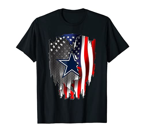 Father s day Gift-Cowboy-Flag football-Dallas-Fans USA Flag T-Shirt