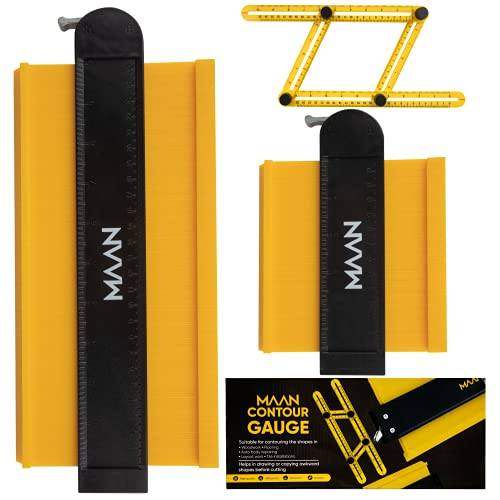 """Contour Gauge with Lock - MAAN 3 Pack 5"""" and 10"""" Shape Duplication Profile Tool with 1 Angle Ruler - Outline Measuring Ruler for Corners, Tiles, Laminate and DIY Woodworking"""