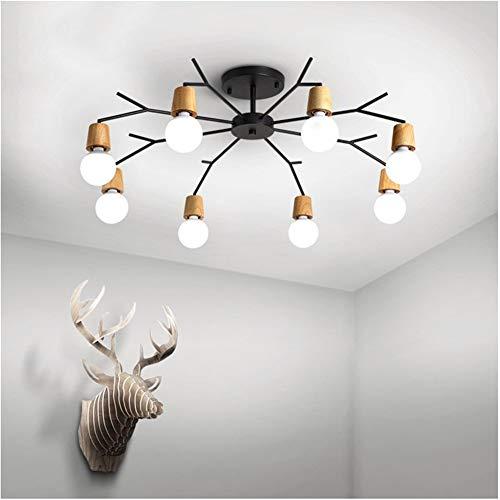 Unbekannt LED Deckenleuchter Einfache Massivholz Kreative Zweig Hause Hängelampen, 90-260 V (Ausgenommen Glühbirnen) (Lampshade Color : White, Wattage : 6 Heads)