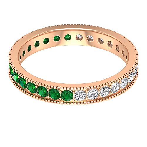 Rosec Jewels 10 quilates oro rosa redonda round-brilliant-shape H-I Green Diamond Emerald