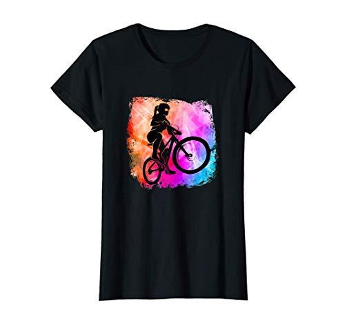 Mountain biker girl nice colors bike T-Shirt