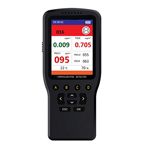 XFHLL Schlafzimmer Luftdetektor, Luftqualität Analyzer Tragbarer High Precision Multifunktions-Gasanalysator Multifunktional, Für Indoor/Haushalt Outdoor-Park Überblick