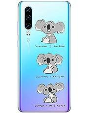 Oihxse Compatible con Huawei Mate 9 Pro Funda Cristal Silicona TPU Suave Ultra-Delgado Protector Estuche Creativa Patrón Protector Anti-Choque Carcasa Cover(Pereza A3)