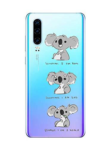 Oihxse Compatible con Huawei P40 Funda Cristal Silicona TPU Suave Ultra-Delgado Protector Estuche Creativa Patrón Protector Anti-Choque Carcasa Cover(Pereza A3)