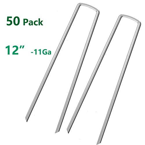 AAGUT 50 Fence Anchors 12 Inch Garden Stakes/Spikes/Pins/Pegs 11 Gauge Galvanized Steel, Anchoring Landscaping, Weed Barrier Fabric, Ground Cover 50 Pack