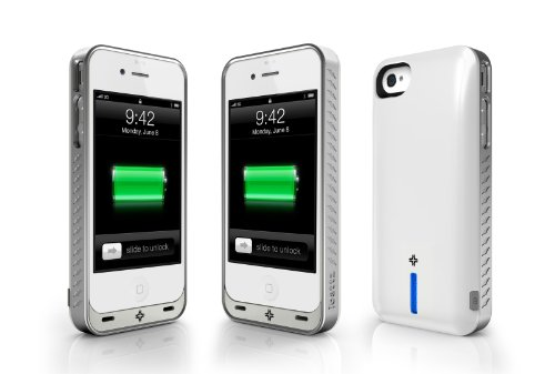 MFI-Apple Certified - ibattz Mojo Vogue Removable Battery Case for iPhone 4 and 4S White 1700mAhX2 fits all version of iPhone 4S/4