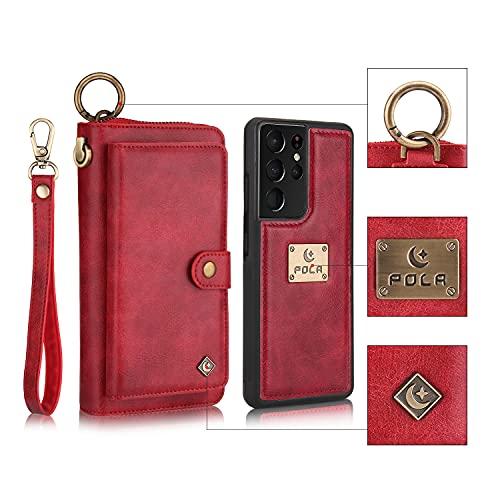 Funda para Samsung Galaxy S21 Ultra Multifuncional Flip Folio Zipper Wallet Vintage magnético Funda Protectora de Cuero Tipo Desmontable Billetera con Ranuras para Tarjetas y Stand - Rojo
