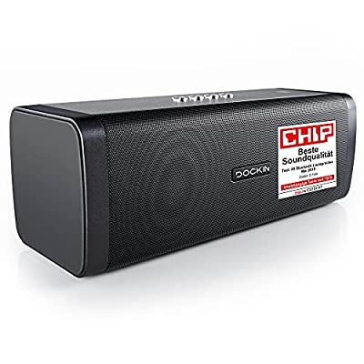 DOCKIN D FINE 50W Hi-Fi Bluetooth Speaker - Outdoor Approved, Superior 2-Way Stereo Sound up to 10h Playtime & Built-in Power Bank, NFC, Splash- & Dustproof IP55, black, Engineered in Germany by DOCKIN