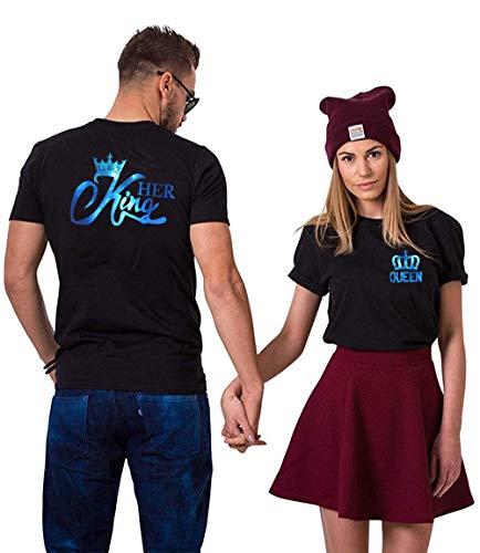 Daisy for U King Queen Shirts Couple Shirt Pärchen T-Shirts Paar Tshirt König Königin Kurzarm 1 Stücke-Queen-schwarz-blau(Damen)-S