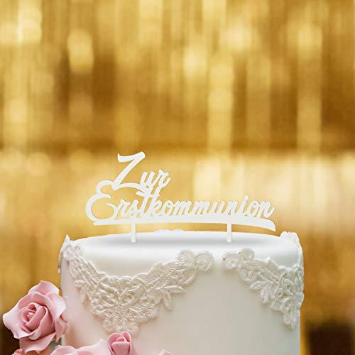 Dankeskarte.com Cake Topper Zur Erstkommunion - für die Torte zur Kommunion - Weiss - XL - Tortenaufsatz, Kuchen, Tortendeko, Tortenstecker, Kuchanaufsatz, Kuchendeko