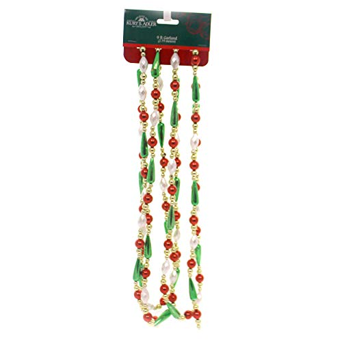 Kurt Adler 9 Plastic Gold, Red Green & White Pearl Round Bead With Water Drop Bead Hand Strung Garland