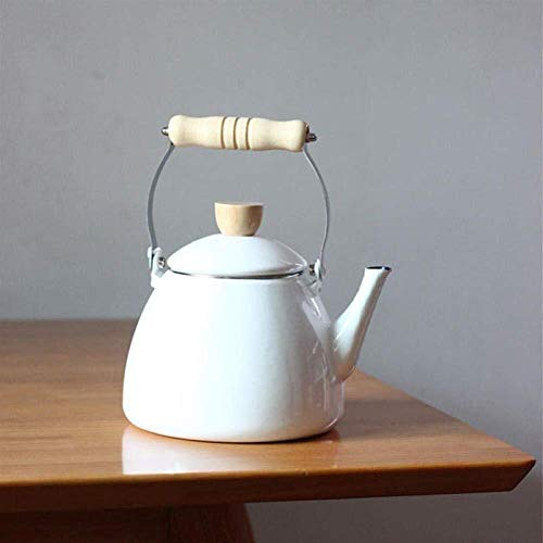 FEE-ZC Emailkessel, Pfeife Teekanne mit Herd, 2 Liter Teekanne mit Holzgriff