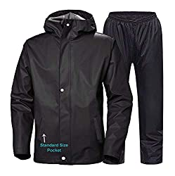 Sky Zoom Rain Coat for Men Waterproof for Bike-Reversible Double Layer with Hood Top and Bottom Packed in a Storage Bag (Black, M),CAMISON