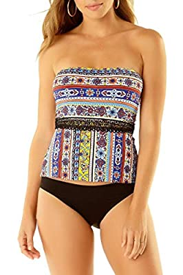 Anne Cole Studio Tile Tease Bandini Top, S, Multi