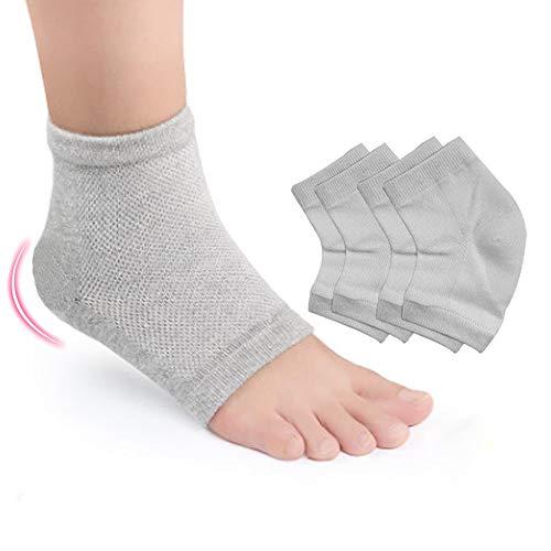 Hilph®Gel Fersensocken Silikon Fersenschutz Feuchtigkeitsspendende Socken Offene Zerhensocken Fußpflege Spa Socken für Trockene Harte Gerissene Haut und Plantarfasziitis 2 Paar