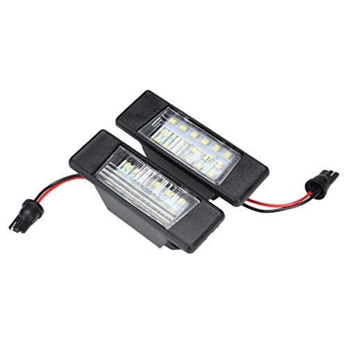 Fransande - Juego de 2 luces de matrícula de 18 ledes, de plástico para Juke Primera, luminosas LED, placa de matrícula, luz