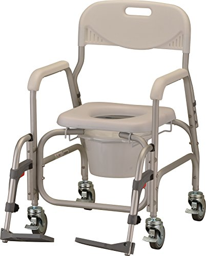 NOVA Medical Products Rolling Shower Commode Chair with Locking Wheels and Removable Footrests,White