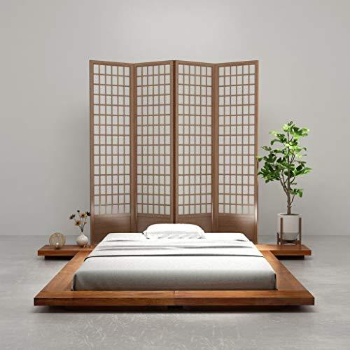 Festnight Cadre de Lit en Bois Style Japonais Tatami 140 x 200 cm
