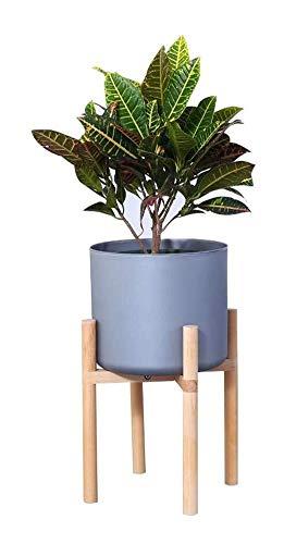 YLongFEI Bloemstandaard Potplantenstandaard Bloempothouder Hout Middeneeuws Bonsai Schermplank Multifunctionele Rek voor Indoor Outdoor Decoratie (inclusief Grijze Bloempotten)