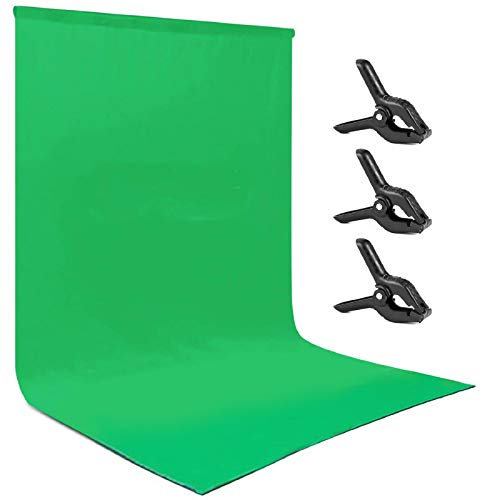 Andoer Croma Verde, 3x3M Fondo Fotografía Estudio Lavable e Ironable Green Screen Tejido de Algodón y Poliéster Backdrop para Estudio Fotografía, Vídeo y Televisión Tela Verde con 3 Pinzas