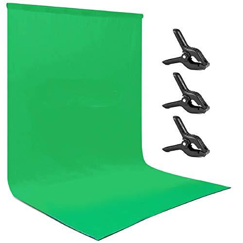 Andoer Fondos de Fotografía 3*3 Metros / 10*10 Pies Fondos de Fotografía de Retrato Accesorios de Estudio Fotográfico Material de Algodón y Poliéster Duradero y Lavable con 3 Abrazaderas Fondo Verde