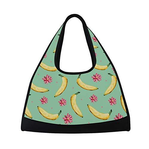 Bennigiry Banana Nahtloser Musterdruck Turnbeutel, Sporttasche, Trainingstasche, Handtasche, große Reisetasche, Tennis, Badminton, Schläger Tasche für Herren und Damen