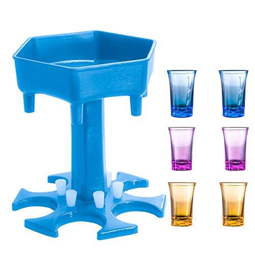 Glass Dispenser and Holder, 2-6 Bar Shots Dispenser with Stopper, Cocktail Dispenser for Liquor, Scotch, Bourbon, Vodka, Cocktail,Colorful cup